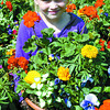 Eight-year-old Courtney Riedel, who has cystic fibrosis, shows some of the 419 baskets of petunias and other varieties her mom Melanie is selling to raise money for the Growing Towards a Cure. Over $2800.00 was profitted this year through sales. Citizen photo by David Mah