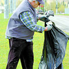 Bill Baxter and 4 other members of the Loyal Order of the Moose 928, cleaned up Ospika Boulevard between 15th and 22nd Avenue Friday morning to help keep the community clean. Citizen photo by David Mah