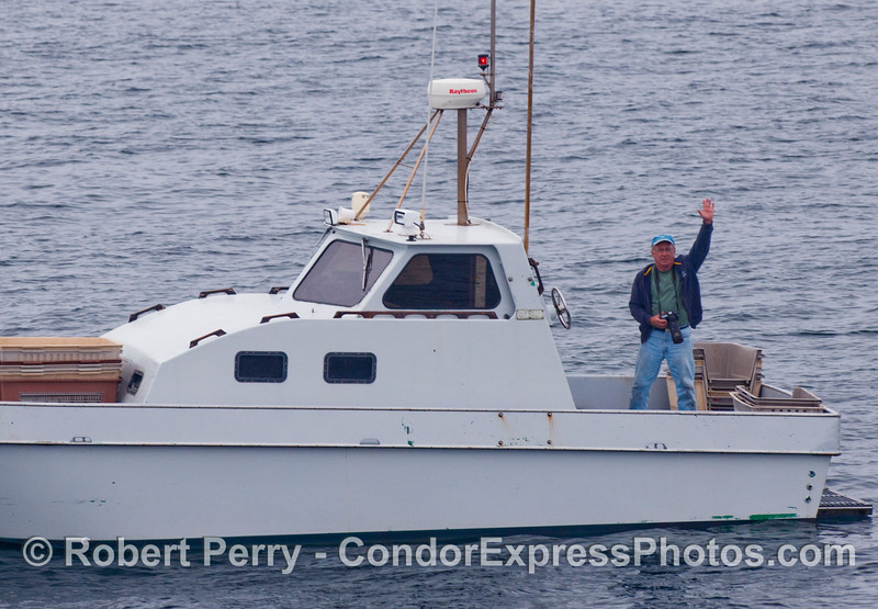 """Captain Skee and his boat.  The """"Solara"""" in the Santa Barbara Channel.  Did I spell Skee correctly?"""