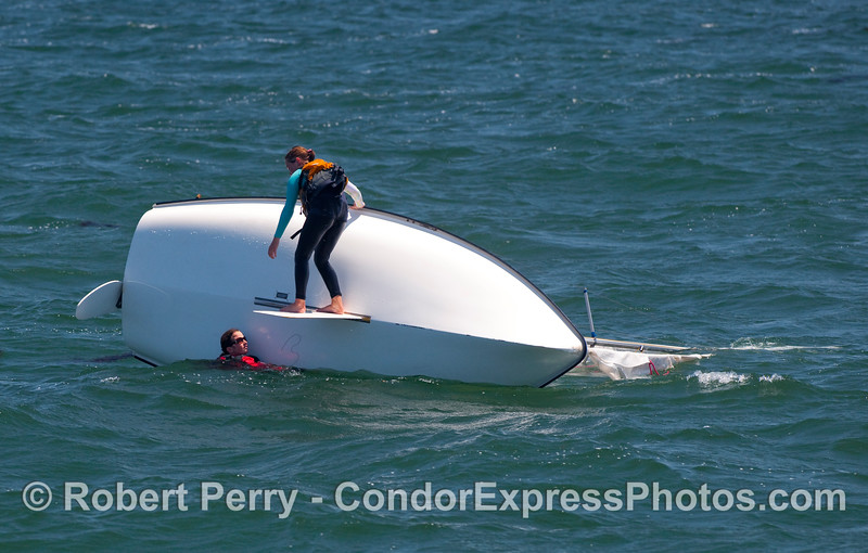 Gusty winds in Santa Barbara Harbor adds to the fun and enjoyment of racing small sailboats.
