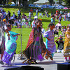 Charlotte Conkin, right, Cheyanne Fennell, Jocelyn Fennell, Jaynne Fennell, and Charles Fennell, of the Rainbow Dancers added lots of color to National Aboriginal Day at Fort George Park Sunday. Citizen photo by David Mah