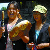 Samantha Seymour, 12, left, and Kristine Mackie=Seymour, 10, were part of the Lheidl Drummers. Citizen photo by David Mah