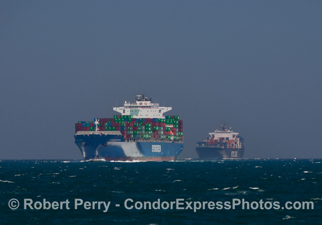 A busy day in the northbound shipping lanes finds two container cargo vessels in a row.