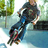 Eric Thompson, 11, practices his jumps in the Rotary Skatepark Monday morning. Citizen photo by David Mah