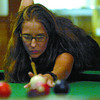 Amy Rhead plays in the 8-Ball Provincial champions ships individual event Friday night at the legion. The team event starts  Saturday morning. Citizen photo by Brent Braaten