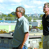 Denny Larson, left, and Dave Fuller, of the Peoples Action Committee for healthy air, look over the downtown core. Citizen photo by David Mah