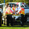 BC Ambulance paramedics and City of Prince George Firefighters deal with the driver of a truck that struck a guy wire pole at the corner of Ferry Avenue and Williams Crescent Thursday afternoon just before 4 p.m. Traffic was re routed while emergancy crews dealt with the mishap.  Citizen photo by Brent Braaten