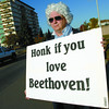 A.J. Mittendorf with the PGSO dressed up like Beethoven along 15th Avenue Wednesday morning to promote the symphonys concert this Saturday at 7:30 in Vanier Hall.  Citizen photo by Brent Braaten