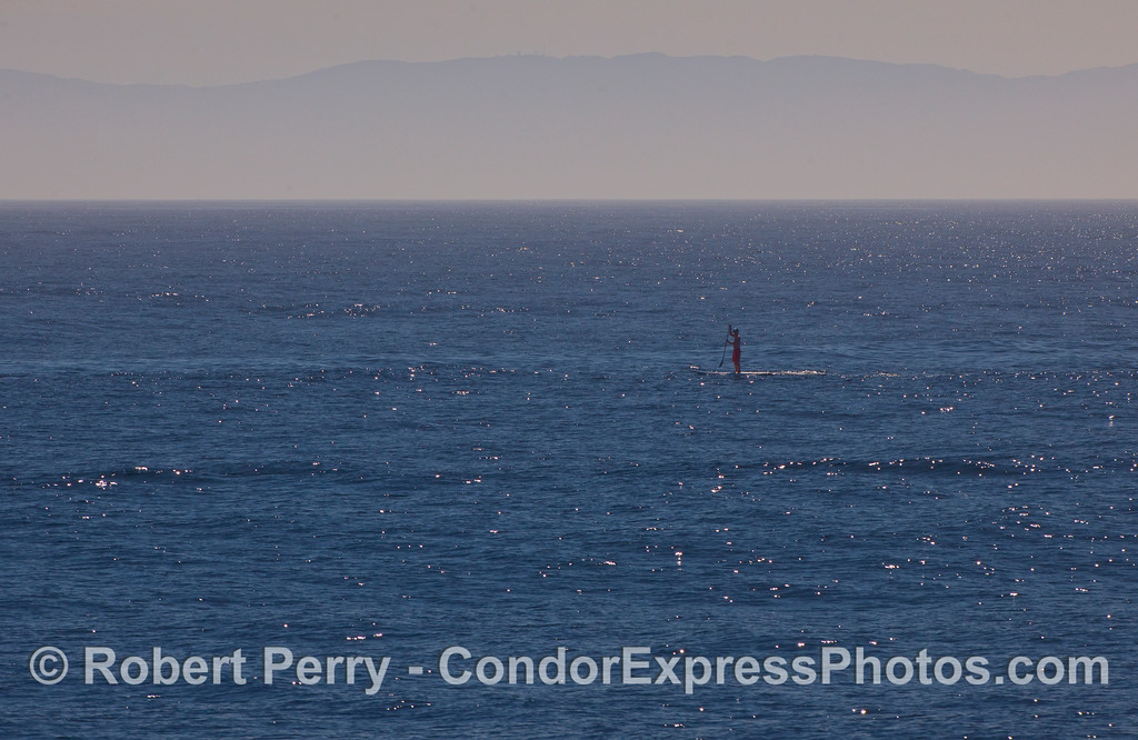 A long board stand up paddler on the open ocean.  Santa Cruz Island is in the back.