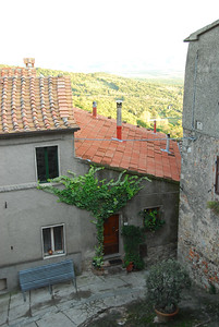 Looking out our bedroom window into the streets of Roccatederighi