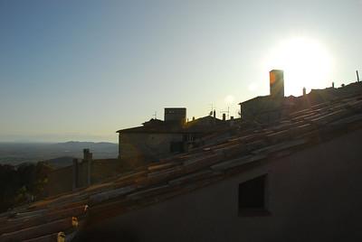 Sun setting over Tuscany