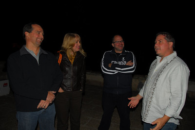 Tim, Corinne, Patrick and Chuck visiting on the roof of the poolhouse at the palazzo in Spongano