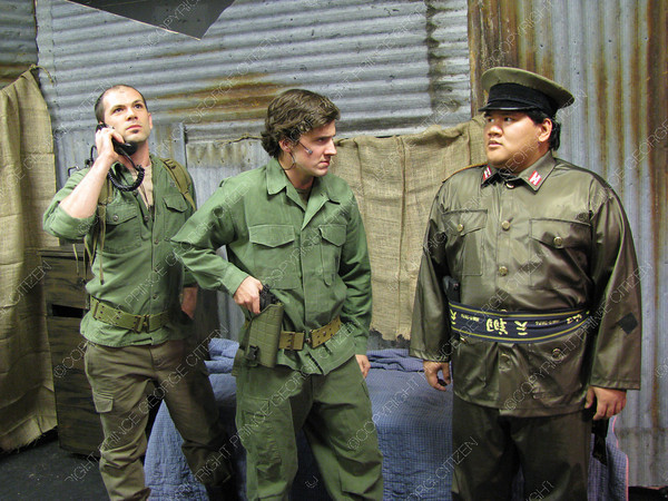 Citizen staff photo Beau Walsh, who plays John, Nigel McInnis, who plays Chris, and Wil Fundal, who plays Thuy, are cast members of Miss Saigon that runs at the Playhouse until Oct. 30, presented by Excailbur Performers Association.