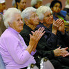 Elsie Christensen, left, Rose Gaal, Helen Wlasitz, and 200 others enjoyed the music of the Elks Elastic Band at the Golden Age Social at the Civic Centre Wednesday. The event was sponsored by the Phoenix Transition House. The next event is November 14th. Citizen photo by David Mah