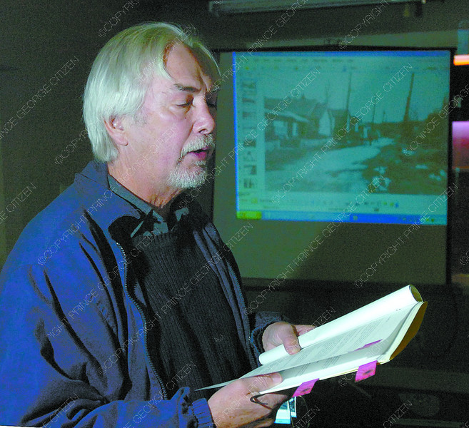 Local writer Barry McKinnon, reads and excerpt during the Writers on the East Line reading. A variety of writers gathered to read about the CN Rail line and it's relation to the region Saturday at the Prince George Railway and Forestry Museum. Citizen photo by David Mah Citizen photo