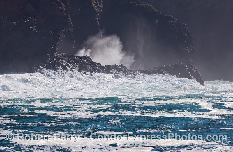 Another big swell hits the seacliffs on the north west side of Santa Cruz Island.
