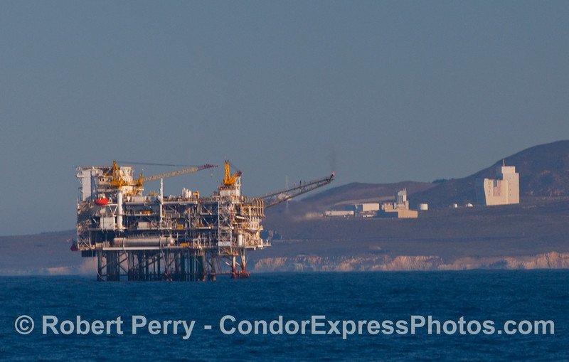 I think this is Oil Platform Hermosa, and I'm certain that's Point Arguello and the USAF installation in the back.