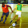 Oladu Oketunde, left, and Kenveer Parmar, battle for the ball in the tryouts for the men's professional soccer team. Citizen photo by David Mah