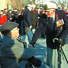 Veterans Roy Whitfield, left, is greeted by Alf Morris, at the Remembrance Day Ceremony. Citizen photo by David Mah