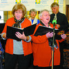 Roberta Johansen, left, Sandy Moseley, and rest of the North of 65 singers entertained residents and guests of the Prince George Chateau Sunday, where The Move for a Cure fundraiser for the Canadian Cancer Society took place. Citizen photo by David Mah