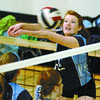 Sarah Loedel with College Heights seniors girls volleyball bumps the ball in the zone final against D.P. Todd. Citizen photo by Brent Braaten