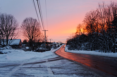 Sunset after the snowstorm on King Street in Franklin Massachusetts