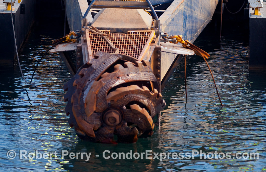 "The ""business end"" of the dredge barge 'AIS Corrin' inside Santa Barbara Harbor."