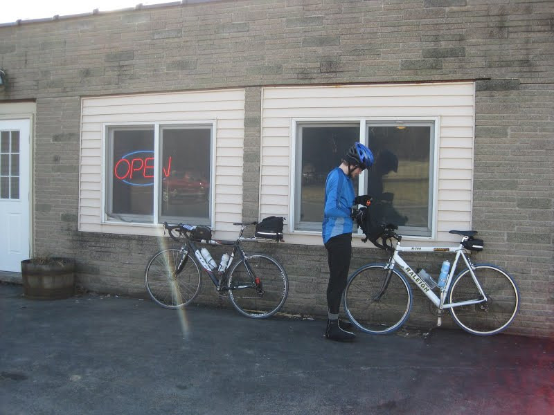 Stopped for big subs after a big climb and riding by Cayuga Lake