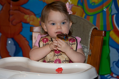She loves chocolate icing!