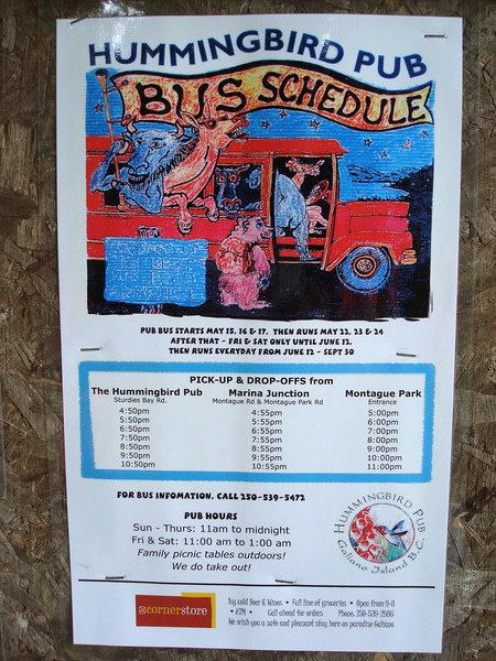 this pub has a bus that will come pick you up at the campground at Montague Harbor and drop you back off. how cool is that??