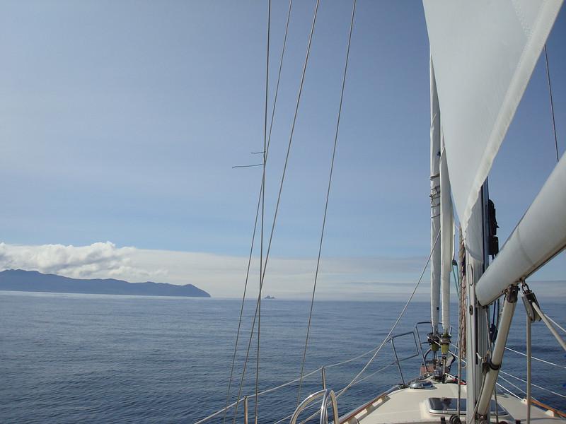 "motorsailing towards Cape Cook - the ""Cape of Storms"""