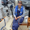 Christy is never as happy as when she's trimming a spinnaker