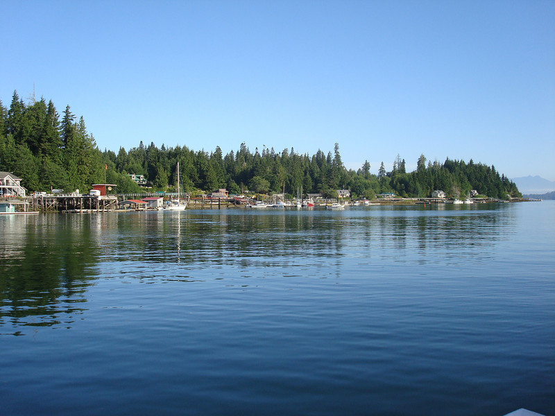 the west side of Bamfield, Happy Camper docked on the left after a windlass failure