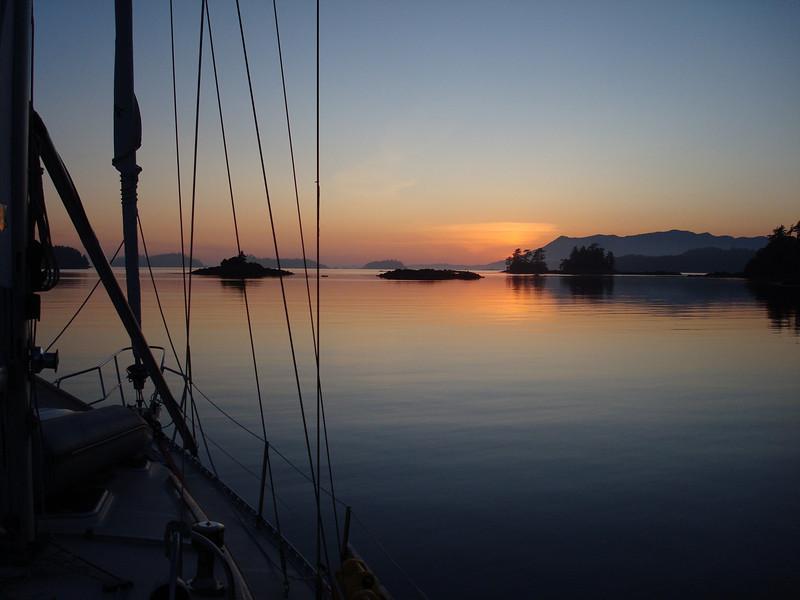 departing Effingham Bay at sunset headed for the Strait of Juan de Fuca
