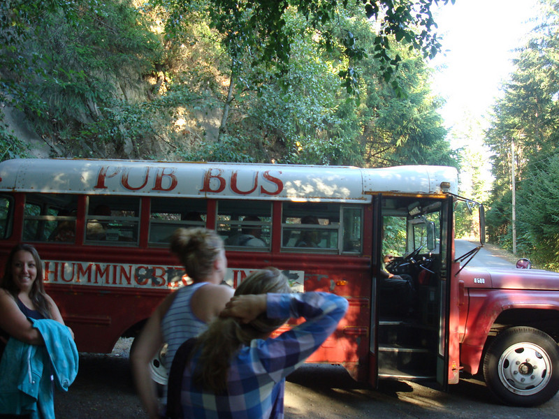 the Hummingbird Pub bus - they will drive down to the state park and pick you up, take you to the pub and drive you back when you're done drinking. THE. AWESOME.