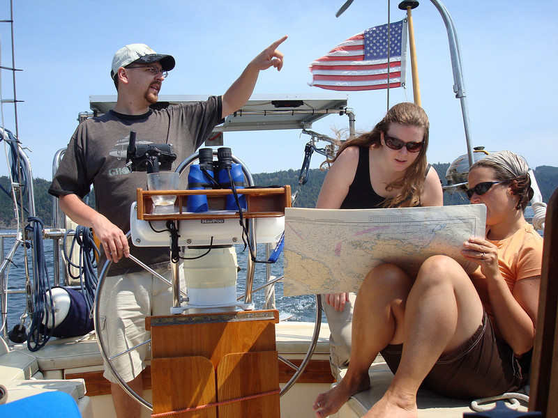 "while the girls seek directions from the chart, Matt relies on his inherent directional instincts and says ""go that way"""
