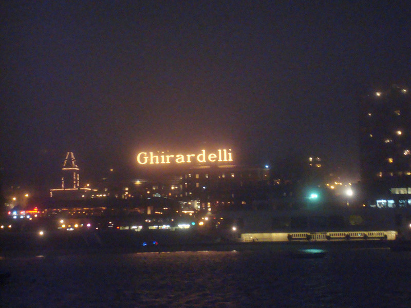 the Ghiradelli Square sign from our boat