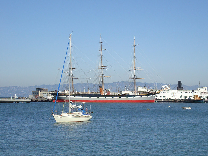 White Cloud anchored in front of the tall ship at Hyde St. Pier