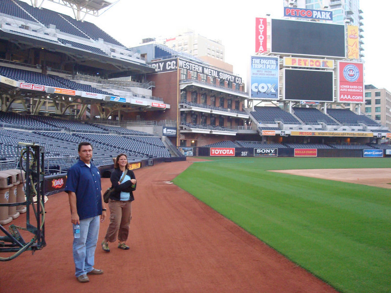 Ray and Christy on the field off the third base line
