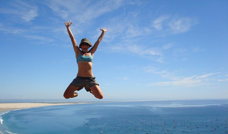 Kristin leaping over the anchored fleet!