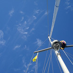 Christy climbing up the mast to reave a new spinnaker halyard