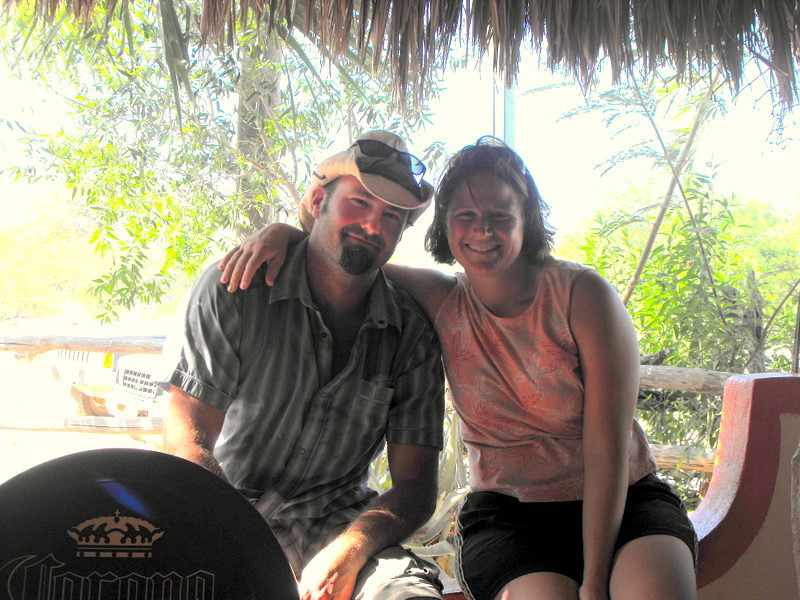Christy and I hanging out in the palapa bar in Los Frailes