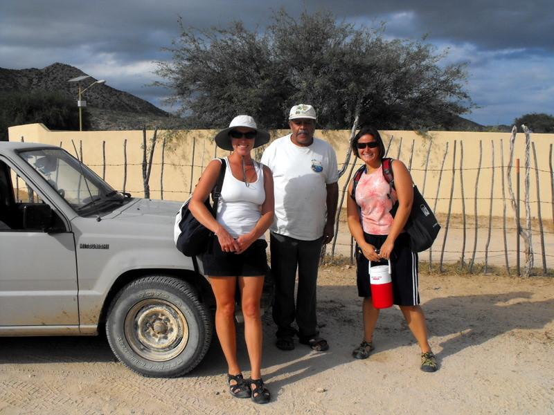 Christy and Megan bumming a ride off Juan