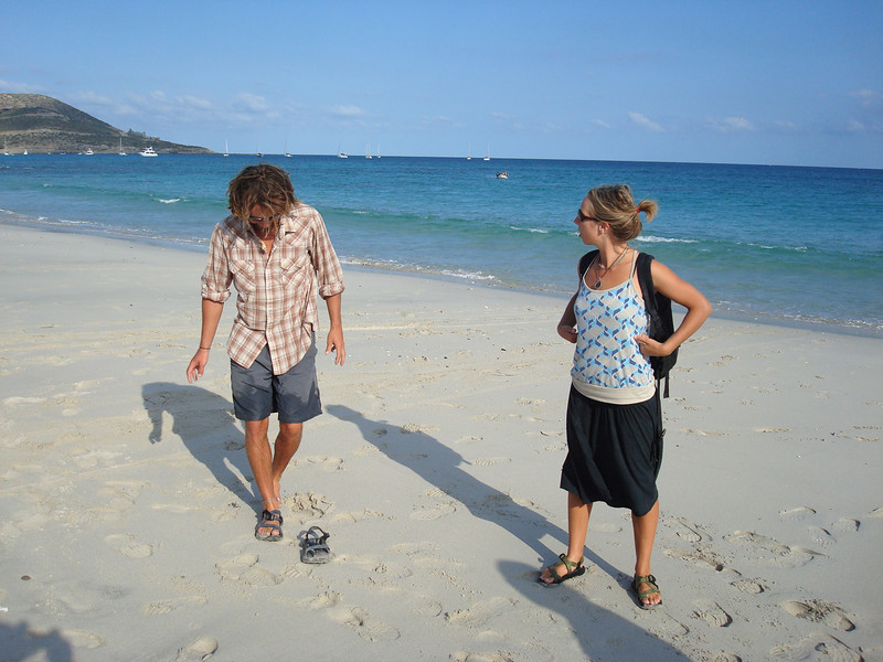 Colin and Kristin hanging on the beach
