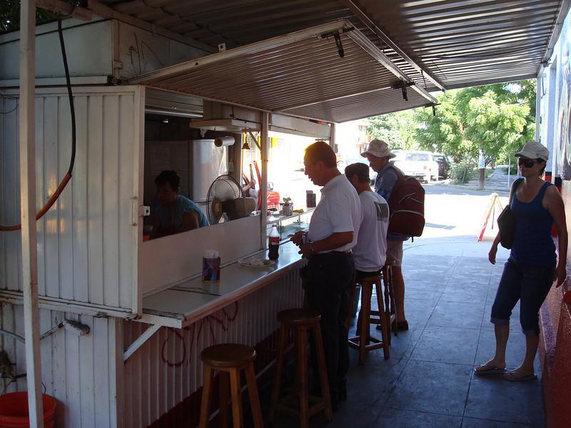 hitting up the local taco stand - Minni makes a mean taco de asada