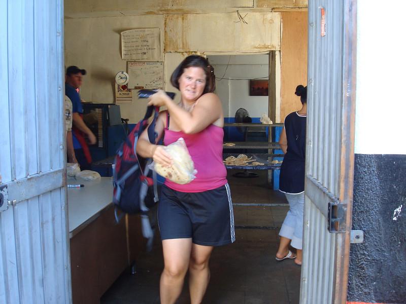 Christy raiding the local tortilleria