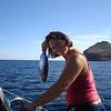 Christy showing off her black skipjack... mmmmm... fish tacos