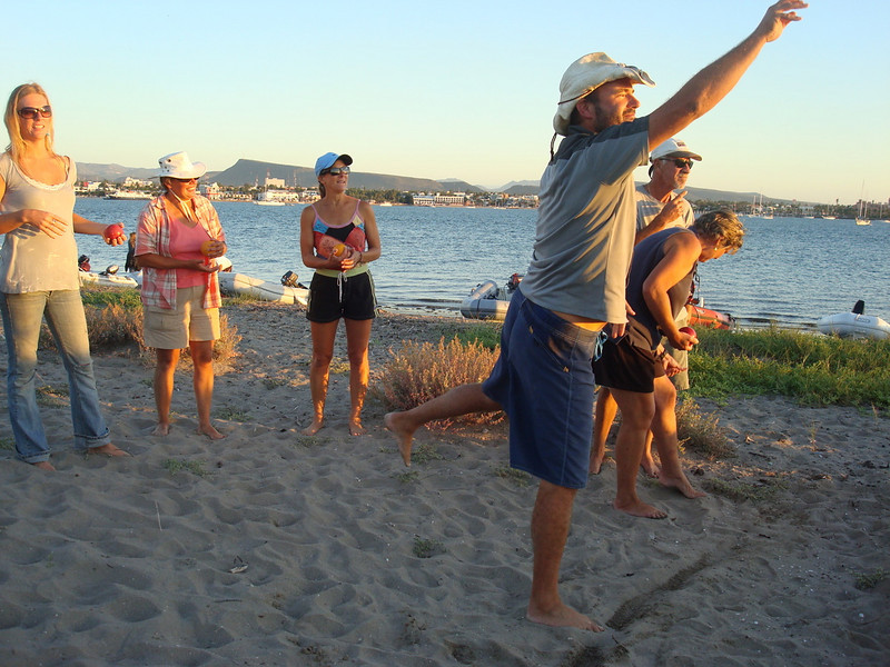 Jason making a winning bocce toss