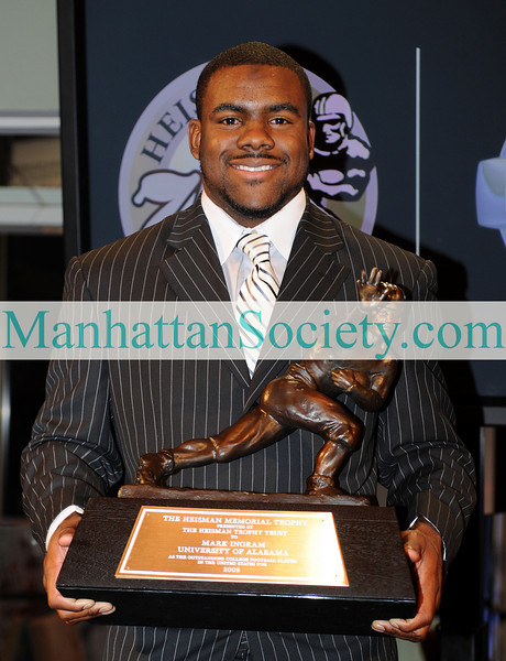NEW YORK-DECEMBER 12:  2009 Heisman Memorial Trophy Winner Mark Ingram, Running Back for the Alabama Crimson Tide poses for a photo with the trophy at the 75th Annual Heisman Memorial Trophy Award Press Conference on Saturday, December 12, 2009 at The New York Marriott Marquis in Times Square, (1535 Broadway at 45th Street), New York City, NY (PHOTO CREDIT:  ©Manhattan Society.com 2009 by Christopher London)