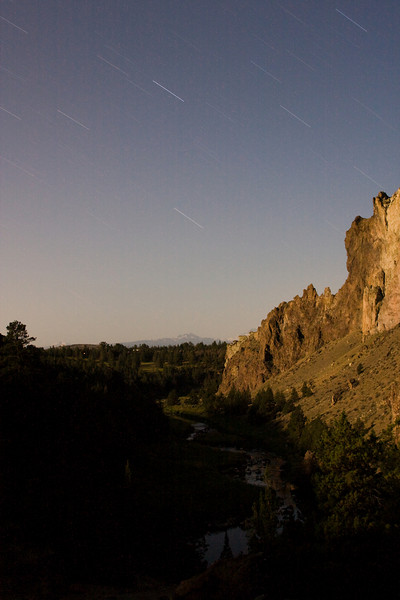 Stars streak the sky for ten minutes over the Crooked River.